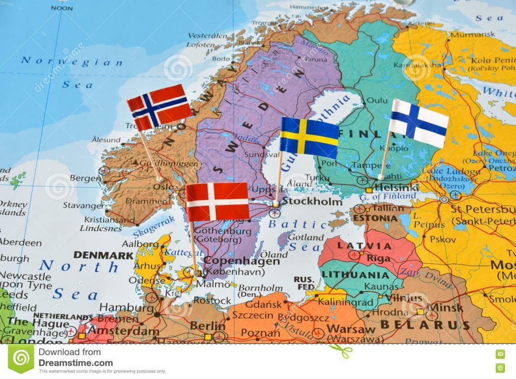 Nordic Countries Flag Pins Map Paper Denmark Finland Norway Sweden Northern Europe 74457995 Beyond The States
